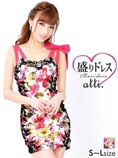 【盛りドレス】[SMLサイズ]シアースリット入りウエスト透け花柄タイトミニドレス[3サイズ展開]