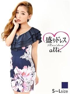 【盛りドレス】[SMLサイズ]ティアードフリル花柄タイトミニドレス[3サイズ展開]