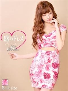 【盛りドレス】[SMLサイズ]カシュクール風ウエスト見せ花柄オフショルタイトミニドレス[3サイズ展開]