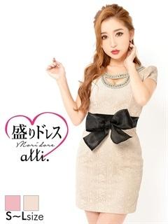【盛りドレス】[SMLサイズ]リボン付き総レース谷間見せタイトミニドレス[3サイズ展開]