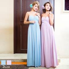 ベアハートカットスレンダーラインロングドレス