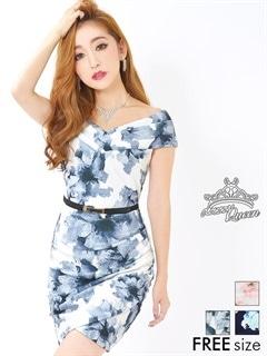 ベルト付花柄ラップスカート風オフショルタイトミニドレス