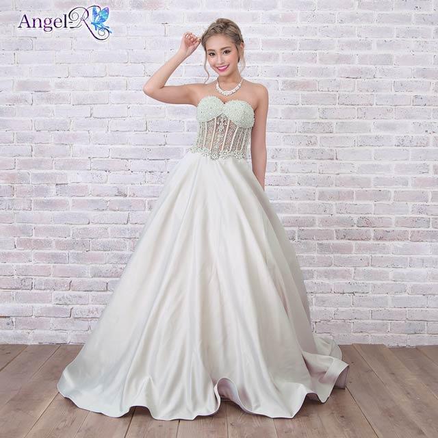 [AngelR]レース透けベアAラインロングドレス[AR7332]