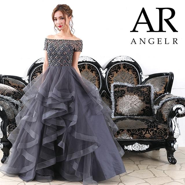 [AngelR]オフショルプリンスラインAラインロングドレス[AR7340]