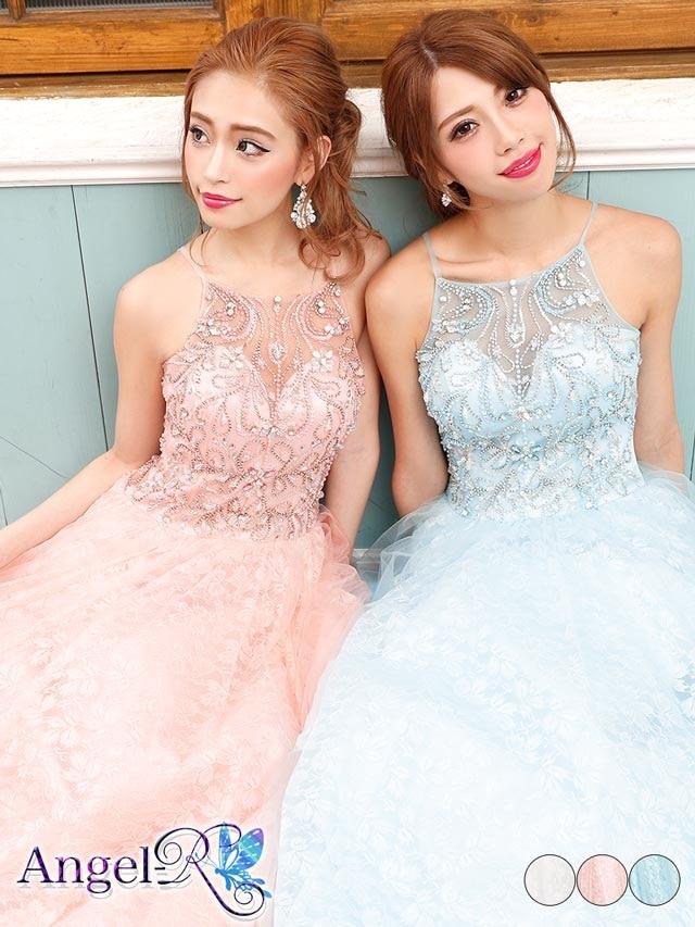 【P★10倍】[AngelR]刺繍レースフレアロングウェディングドレス[AR8603][送料無料]