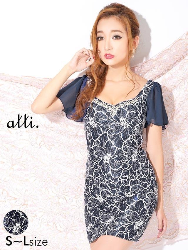[SMLサイズ]花刺繍総レースフレアスリーブタイトミニドレス[3サイズ展開]
