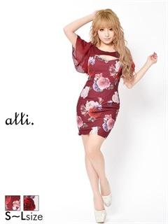 [SMLサイズ]リボン谷間ホール薔薇柄フレア袖付タイトミニドレス[3サイズ展開]