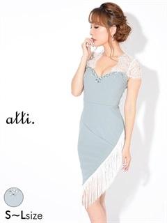 [SMLサイズ]サイドフリンジ透けレースタイトドレス[3サイズ展開]