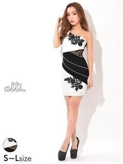 [SMLサイズ]パールビジュー付きバイカラーワンショルタイトミニドレス[3サイズ展開]