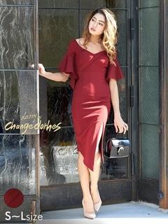 [SMLサイズ]スリット入りフレアスリーブワンカラータイトドレス[3サイズ展開][change clothes][送料無料]