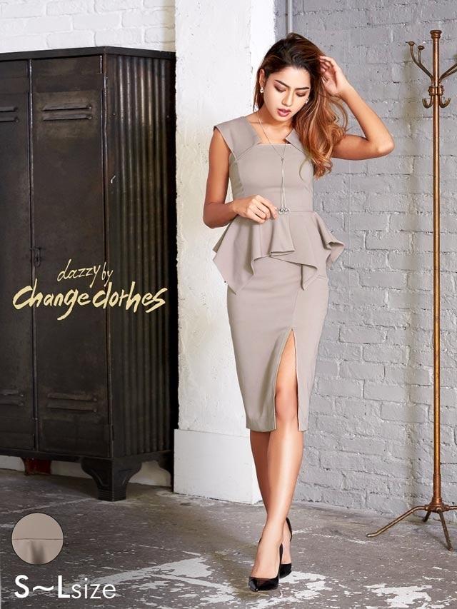 1/26UP[SMLサイズ]スリット入りワンカラーペプラムタイトドレス[3サイズ展開][change clothes]
