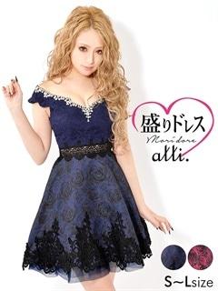【盛りドレス】[SMLサイズ]ウエスト透けジャガードAラインドレス[3サイズ展開]