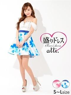 【盛りドレス】[SMLサイズ]シフォンオフショルダーx花柄Aラインミニドレス[3サイズ展開]