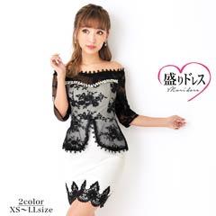 【盛りドレス】[XS~LLサイズ]パールビジュー付きフラワー刺繍オフショルタイトミニドレス[5サイズ展開]