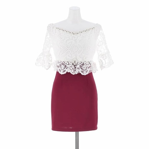 [XS~3Lサイズ]ボールドflower刺繍オフショルタイトミニドレス[6サイズ展開](ホワイト×レッド-XS)