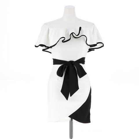 [S~3Lサイズ]バイカラーフレアスリーブオフショルタイトミニドレス[5サイズ展開](ホワイト×ブラック-S)