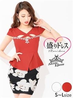 【盛りドレス】[SMLサイズ]ウエストペプラム付ビッグフラワー柄タイトミニドレス[3サイズ展開]