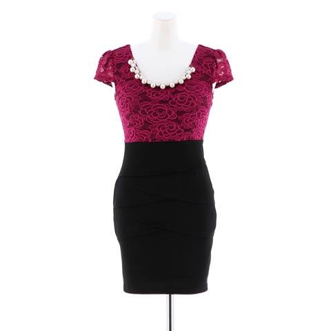 【盛りドレス】[S~3Lサイズ]flower刺繍レースタイトミニドレス[5サイズ展開](ネイビー-S)