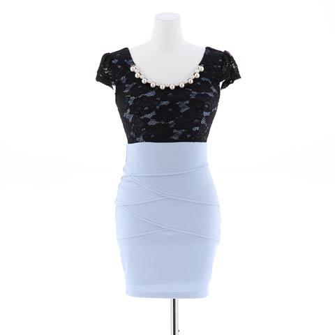【盛りドレス】[S~3Lサイズ]flower刺繍レースタイトミニドレス[5サイズ展開](ワインレッド-S)