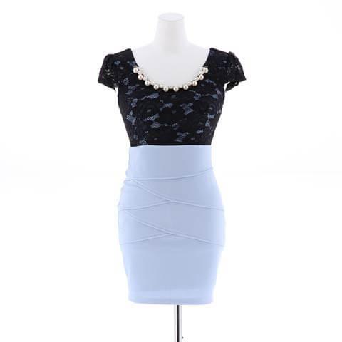 【盛りドレス】[S~3Lサイズ]flower刺繍レースタイトミニドレス[5サイズ展開](ブルー-S)