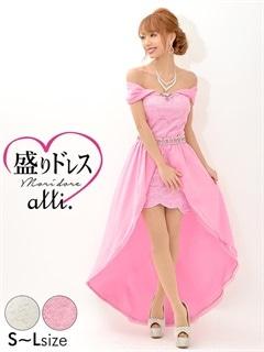 【盛りドレス】[2way][SMLサイズ]テールカットスカート付レースオフショルダーベアタイトミニドレス[3サイズ展開]