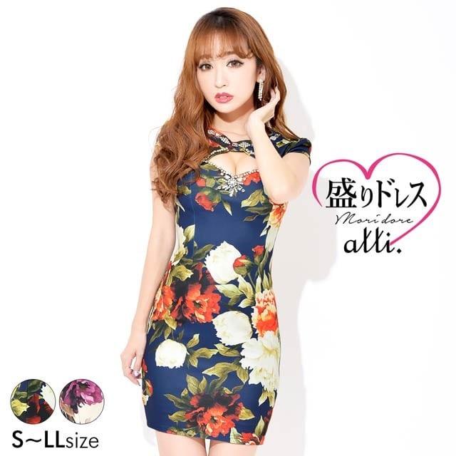 【盛りドレス】[S~LLサイズ]谷間ホール付きレトロフラワープリントタイトミニドレス[4サイズ展開]