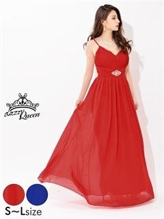 [SMLサイズ]ビジューバックル付ワンカラーロングドレス[3サイズ展開]