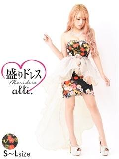 【盛りドレス】[2way][SMLサイズ]オーガンジーテールカットスカート付マルチ花柄タイトミニドレス[3サイズ展開]