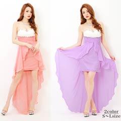 [SMLサイズ]ベアシフォンテールカットミニタイトドレス[3サイズ展開]