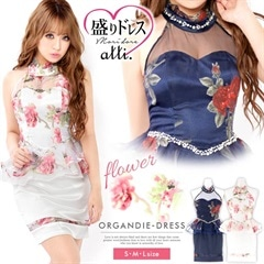 【盛りドレス】[SMLサイズ]アメスリflower柄ペプラムタイトミニドレス[3サイズ展開]