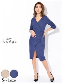 [SMLサイズ]フェイクベルト付きジョーゼットタイトドレス[3サイズ展開]