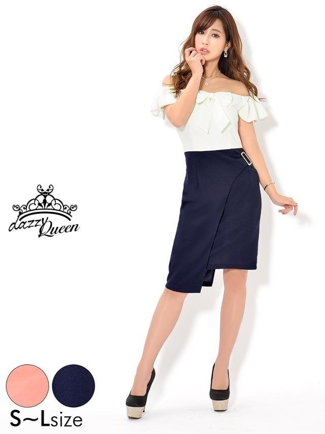2/23UP[SMLサイズ]リボン付きアシンメトリー裾タイトドレス[3サイズ展開]