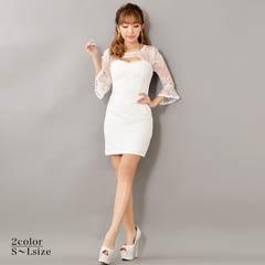 [SMLサイズ]豪華ビジュー×パール付き5分袖ベルスリーブミニタイトドレス[3サイズ展開]