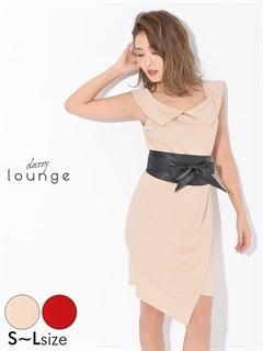 [SMLサイズ]ベルト付きワンカラーオフショルタイトミニドレス[3サイズ展開]