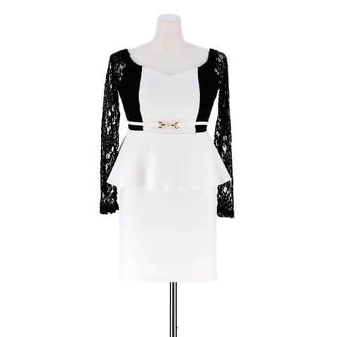 [S~3Lサイズ]バイカラーオフショルペプラムタイトドレス[5サイズ展開](ホワイト-S)