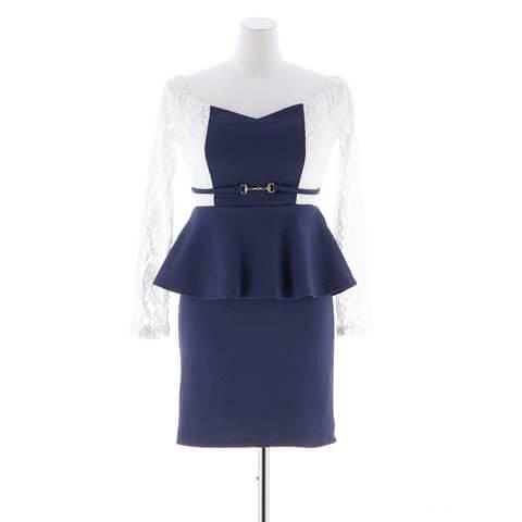 [S~3Lサイズ]バイカラーオフショルペプラムタイトドレス[5サイズ展開](ネイビー-S)