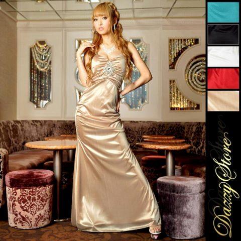 ビッグビジュー ストレッチサテンロングドレス