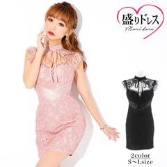 【盛りドレス】[SMLサイズ]ベロアリボン付き総レースタイトミニドレス[3サイズ展開]