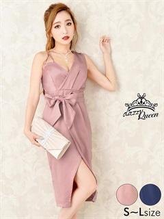 5/14UP[SMLサイズ]スリット入りウエストリボンワンカラータイトドレス[3サイズ展開]
