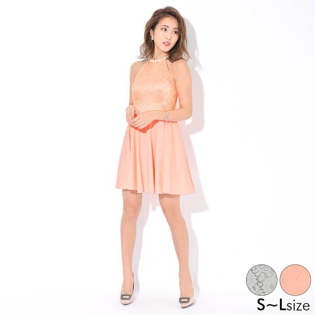 [SMLサイズ]パールネックレス付ワンカラーアメスリAラインミニドレス[3サイズ展開]