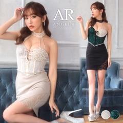 [AngelR]レース×ビジューアシンメタイトミニドレス[AR21312]