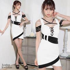 6/10UP[SMLサイズ]白×黒バイカラー胸元レースアップタイトミニドレス[3サイズ展開]