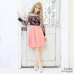 [SMLサイズ]パール付きレースバイカラーAライン膝丈ドレス[3サイズ展開]