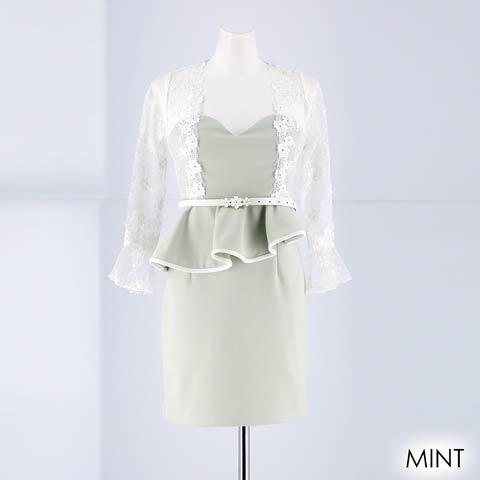 [SMLサイズ]ペールトーン袖付きタイトミニドレス[3サイズ展開](ミント-Sサイズ)