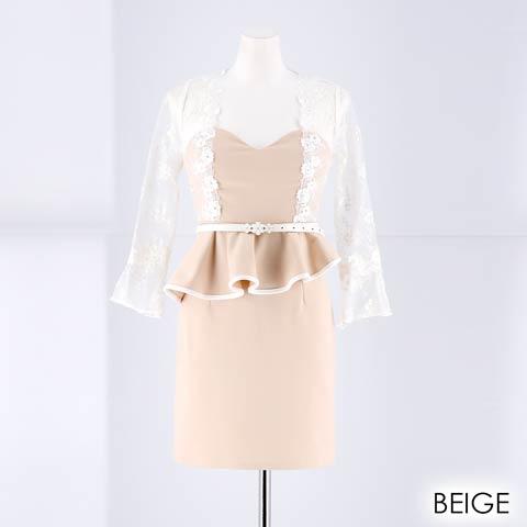 [SMLサイズ]ペールトーン袖付きタイトミニドレス[3サイズ展開](ベージュ-Sサイズ)