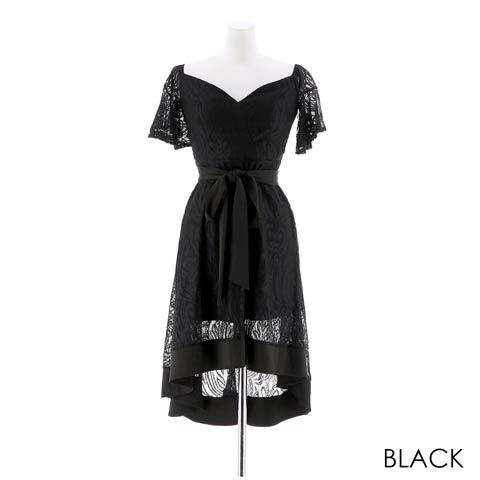 [SMLサイズ]ワンカラーシャーリングAラインミニドレス[3サイズ展開](ブラック-Sサイズ)