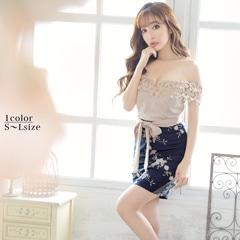 [SMLサイズ]花刺繍バイカラー谷間見せリボンベルトオフショルタイトミニドレス[3サイズ展開]