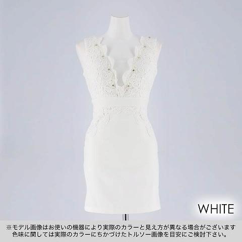 [SMLサイズ]ワンカラーフラワーレースタイトミニドレス[3サイズ展開](ホワイト-Sサイズ)