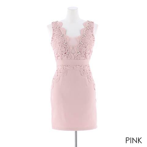 [SMLサイズ]ワンカラーフラワーレースタイトミニドレス[3サイズ展開](ピンク-Sサイズ)