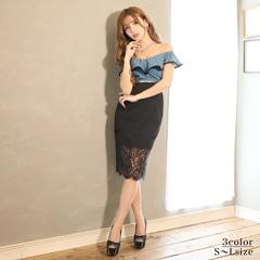 [SMLサイズ]バイカラーフリルオフショルタイト膝丈ドレス[3サイズ展開]